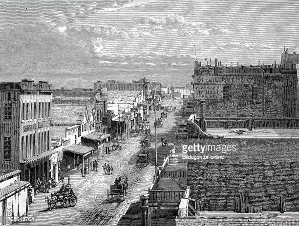 Virginia City in 1870, city in the Nevada desert, USA / Virginia City im Jahre 1870, Stadt in der Wüste von Nevada, USA, Reproduction of an original...