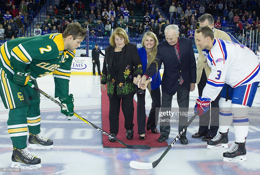 UMass Lowell Riverhawks Hockey Ceremonial First Puck With Bonnie Comley