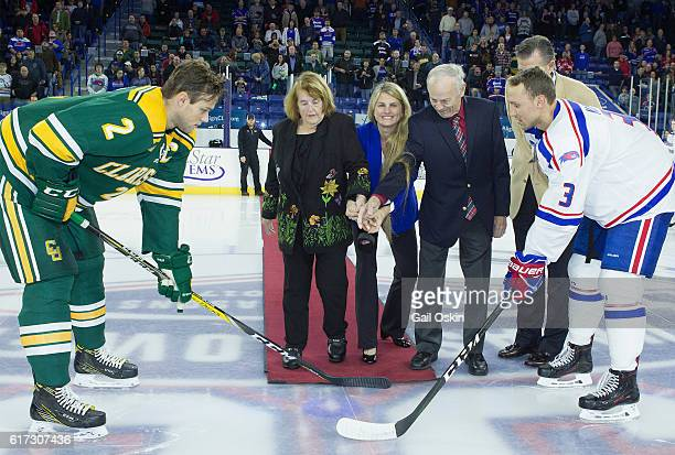 Virginia Comley Bonnie Comley and James F Comley attend the UMass Lowell Riverhawks Hockey Ceremonial First Puck with Bonnie Comley at Tsongas Center...