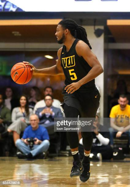 Virginia Commonwealth Rams guard Doug Brooks dribbles up court during an Atlantic 10 men's basketball game on February 08 at the Charles E Smith...