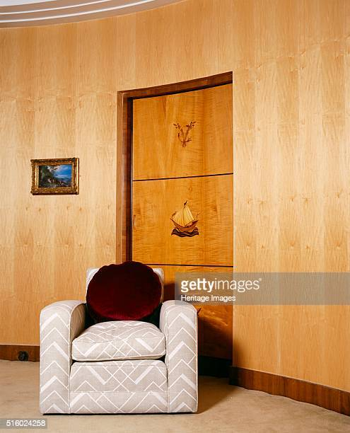 Virginia Courtauld's bathroom Eltham Palace London c2000s View showing a chair and door inlaid with marquetry In origin Eltham was a royal palace but...