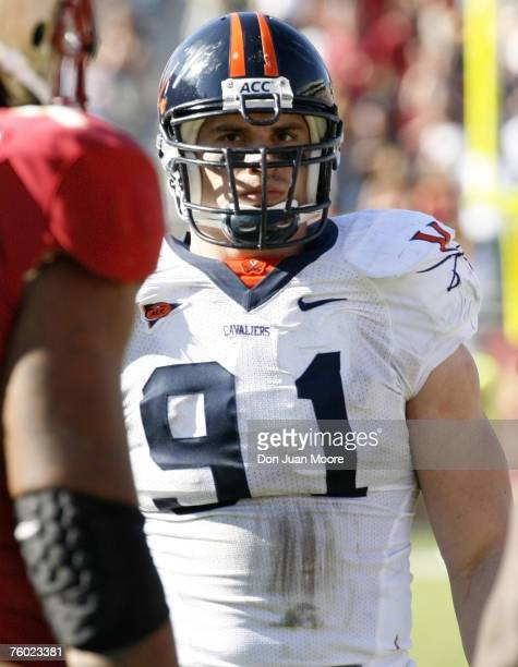 Virginia DE Chris Long son of Hall of Famer Howie Long in action against Florida State during the game between Virginia and Florida State at Doak...