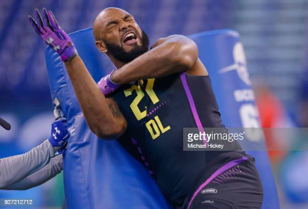 Virginia defensive lineman Drew Brown runs thru a drill during the NFL Scouting Combine at Lucas Oil Stadium on March 4 2018 in Indianapolis Indiana