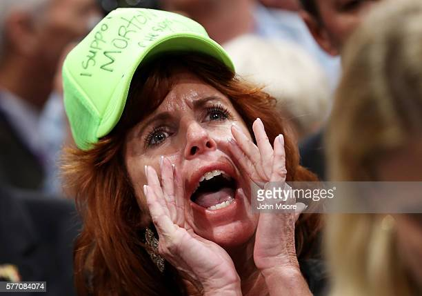 Virginia delegate Waverly Woods protests a roll call vote on the first day of the Republican National Convention on July 18 2016 at the Quicken Loans...