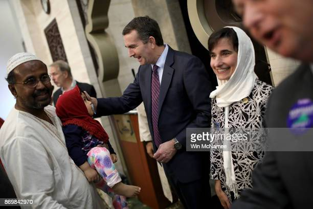 Virginia Democratic candidate for governor Lt Gov Ralph Northam greets congregants while campaigning at the All Dulles Area Muslim Society following...