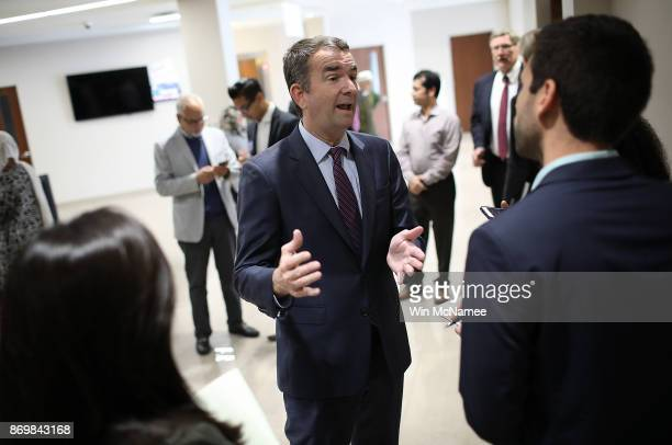 Virginia Democratic candidate for governor Lt Gov Ralph Northam answers questions while campaigning at the All Dulles Area Muslim Society following...