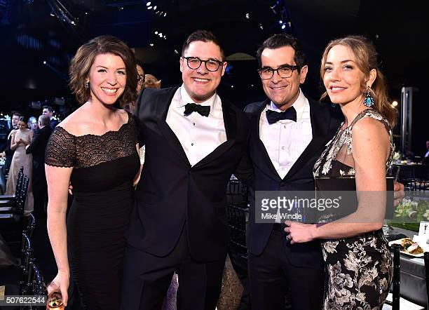 Virginia Donohoe actors Rich Sommer Ty Burrell and Holly Anne Brown attend The 22nd Annual Screen Actors Guild Awards at The Shrine Auditorium on...