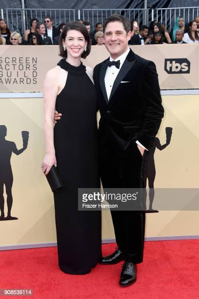 Virginia Donohoe and actor Rich Sommer attend the 24th Annual Screen Actors Guild Awards at The Shrine Auditorium on January 21 2018 in Los Angeles...