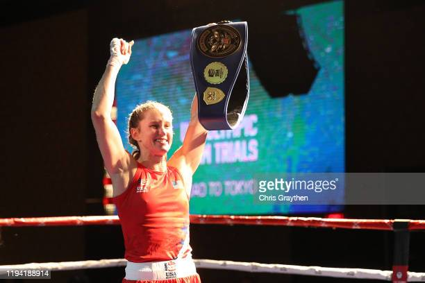Virginia Fuchs clebrates after defeating Christina Cruz during the 2020 US Olympic Boxing Team Trials at Golden Nugget Lake Charles Hotel Casino on...
