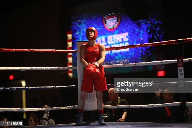 Virginia Fuchs fights Christina Cruz during the 2020 US Olympic Boxing Team Trials at Golden Nugget Lake Charles Hotel Casino on December 15 2019 in...