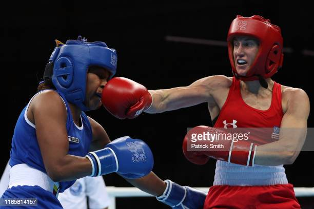 Virginia Fuchs of United States lands a cross on Ingrit Valencia Victoria of Colombia in Women's Boxing Fly Finals Bout Day 7 of Lima 2019 Pan...