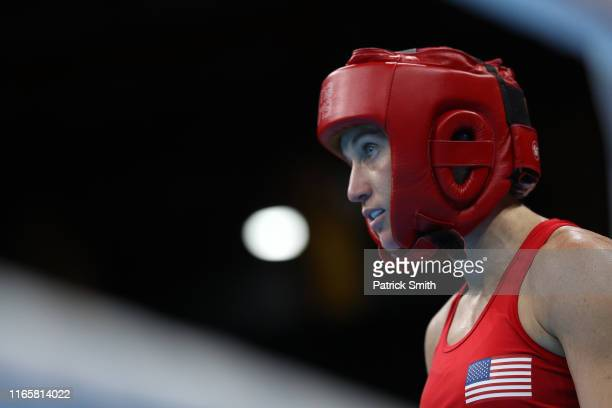 Virginia Fuchs of United States looks on during a fight against Ingrit Valencia Victoria of Colombia in Women's Boxing Fly Finals Bout Day 7 of Lima...