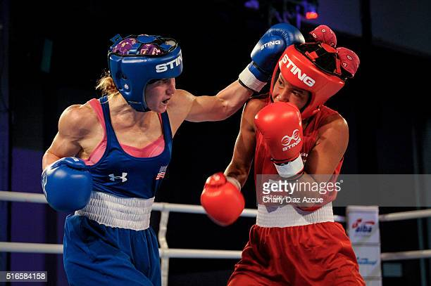 Virginia Fuchs of USA fights against Grazieli Jesus de Sousa of Brazil during the Women's Fly category as part of American Olympic Qualification...