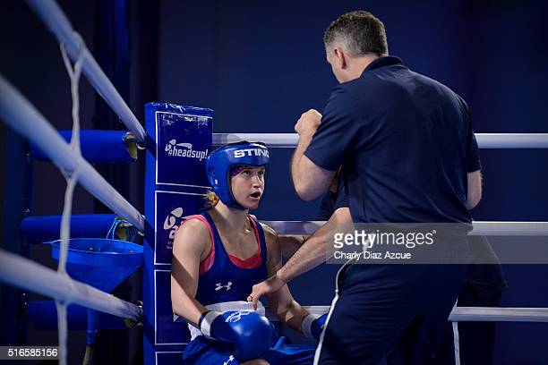 Virginia Fuchs of USA talks with her coach during the Women´s Fly category as part of American Olympic Qualification Event Buenos Aires 2016 at La...