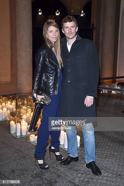 Virginia Galateri Di Genola attends Vogue Cocktail Party honoring photographer Mario Testino on February 27 2016 in Milan Italy