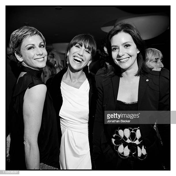 Virginia Galvin, Marta Viudes and Lourdes Garzon are photographed at Vanity Fair Cannes Party at the Eden Roc, Cap d'Antibes for Vanity Fair Magazine...