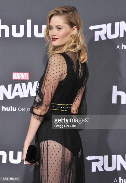 Virginia Gardner arrives at the premiere of Hulu's 'Marvel's Runaways' at Regency Bruin Theatre on November 16 2017 in Los Angeles California
