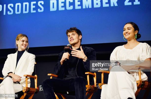 Virginia Gardner Gregg Sulkin and Ariela Barer speak onstage during Hulu's 'Runaways' panel at 2018 New York Comic Con at The Theater at Madison...