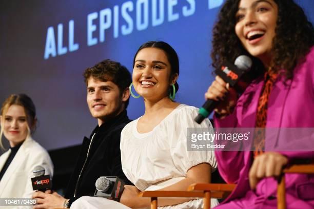 Virginia Gardner Gregg Sulkin Ariela Barer and Allegra Acosta speak onstage during Hulu's 'Runaways' panel at 2018 New York Comic Con at The Theater...