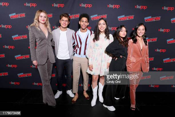 Virginia Gardner, Gregg Sulkin, Rheny Feliz, Allegra Accosta, Ariela Barer and Lyrica Okana the Marvel's Runaways Screening + Panel At New York Comic...