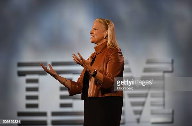 Virginia Ginni Rometty chief executive officer of International Business Machines Corp delivers a keynote address during the 2016 Consumer...