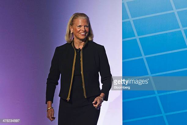 Virginia Ginni Rometty chief executive officer of International Business Machines Corp arrives for a keynote address on day three of the Mobile World...