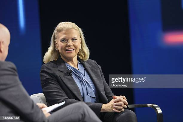 Virginia 'Ginni' Rometty chief executive officer of International Business Machines Corp smiles during the WSJDLive Global Technology Conference in...