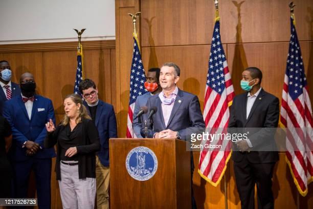 Virginia Gov. Ralph Northam speaks during a news conference on June 4, 2020 in Richmond, Virginia. Gov. Northam and Richmond Mayor Levar Stoney...