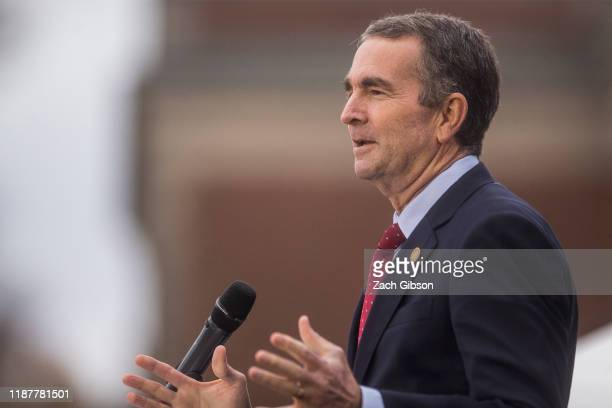 Virginia Gov. Ralph Northam speaks during an unveiling ceremony for Rumors of War, a statue by artist Kehinde Wiley, at the Virginia Museum of Fine...