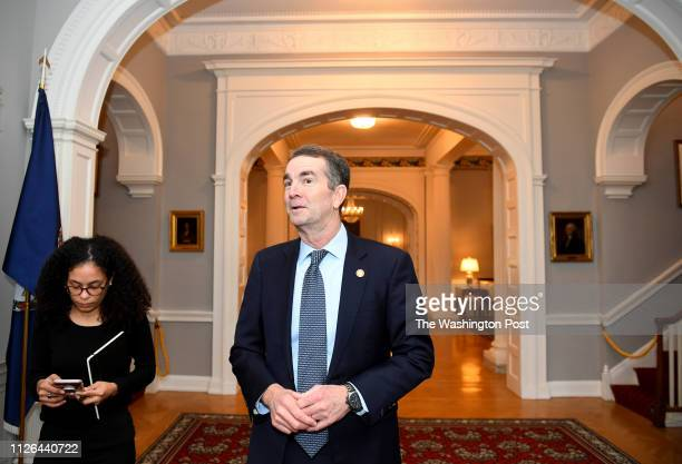 Virginia Gov Ralph Northam talks about how he was raised during an interview in the Governor's Mansion February 09 2019 in Richmond VA He and...