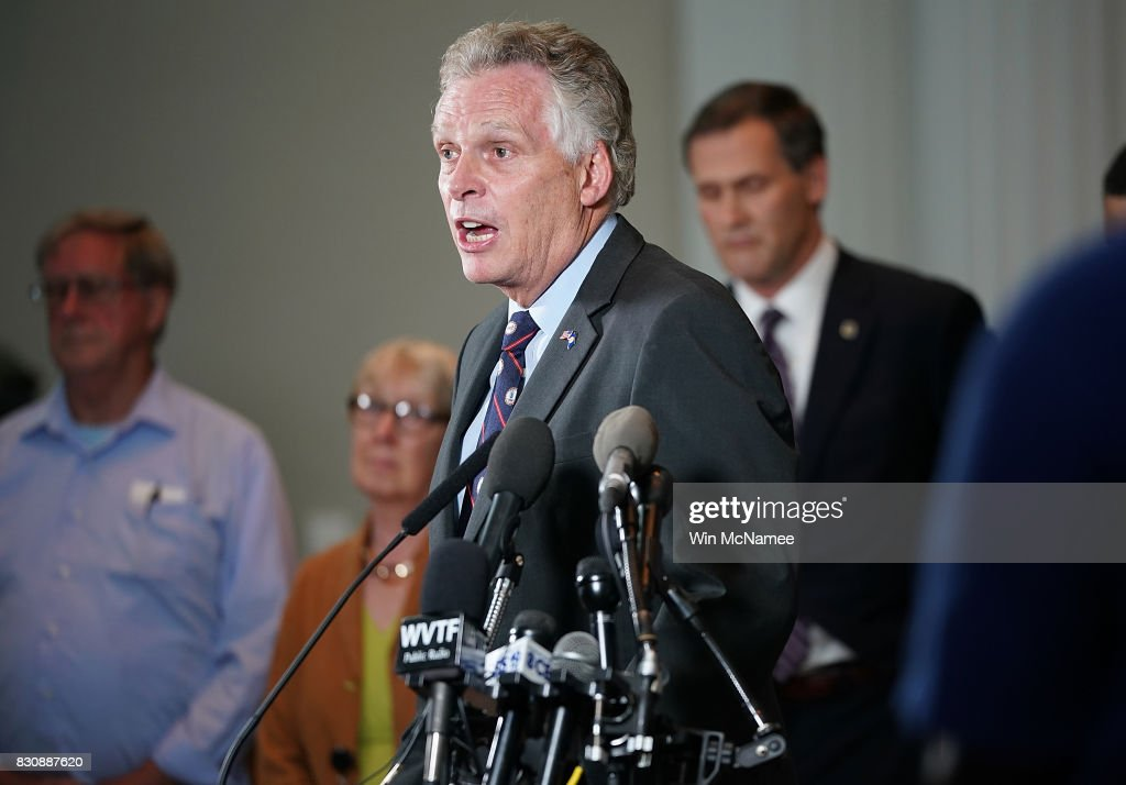 Virginia Gov. Terry McAuliffe speaks during a press conference August 12, 2017 in Charlottesville, Virginia. While speaking about today's violence during a white supremacist rally, McAuliffe said, 'Please, go home and never come back. Take your hatred and take your bigotry.'