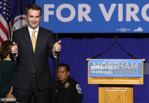 Virginia Gov.-elect Ralph Northam greets supporters at an election night rally November 7, 2017 in Fairfax, Virginia. Northam defeated Republican...