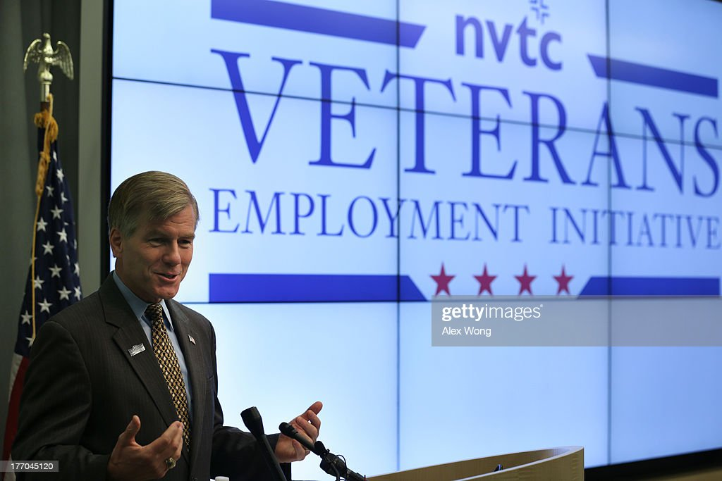 Virginia Governor Bob McDonnell speaks during an event regarding the launch of the 'Veterans Employment Initiative' August 20, 2013 at ICF International in Fairfax, Virginia. The Northern Virginia Technology Council (NVTC) holds an event to discuss the new program designed to connect veterans to employment opportunities within Virginia's technology community.