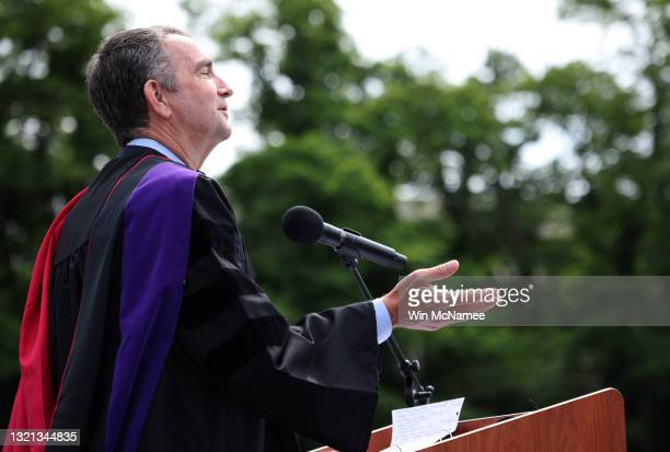Virginia Governor Ralph Northam delivers remarks at George Mason High School's graduation ceremony June 2, 2021 in Falls Church, Virginia. Today...