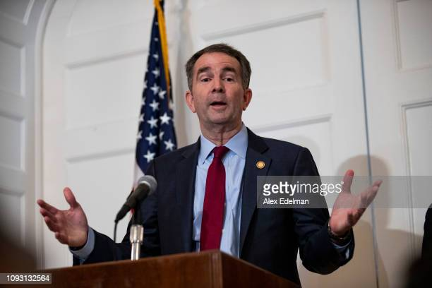 Virginia Governor Ralph Northam speaks with reporters at a press conference at the Governor's mansion on February 2, 2019 in Richmond, Virginia....