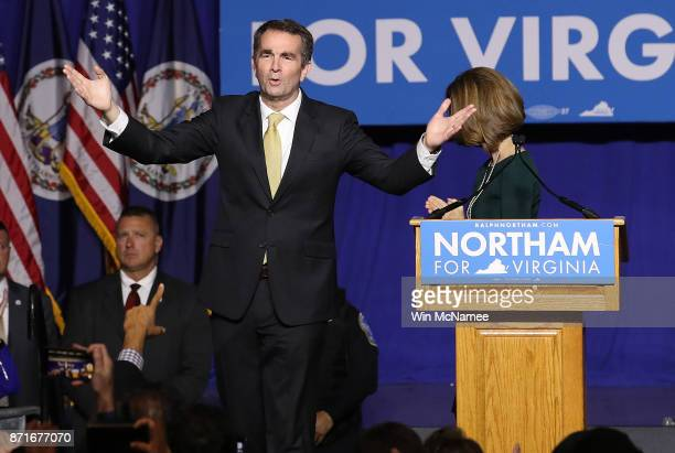 Virginia Governor-elect Ralph Northam greets supporters at an election night rally November 7, 2017 in Fairfax, Virginia. Northam defeated Republican...