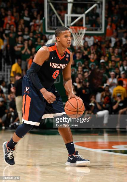 Virginia guard Devon Hall plays during a college basketball game between the University of Virginia Cavaliers and the University of Miami Hurricanes...