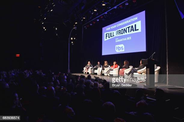 Virginia Heffernan Michael Rubens Allana Harkin Samantha Bee Ashley Nicole Black Alison Camillo and Pat King speak onstage during the Full Frontal...