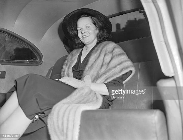Virginia Hill girlfriend of Las Vegas mobster Ben Bugsy' Siegel in her automobile after testifying before the Kefauver organized crime hearings in...