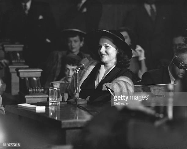 Virginia Hill girlfriend of Las Vegas mobster Ben Bugsy' Siegel laughs as she testifies before the Kefauver organized crime hearings in New York