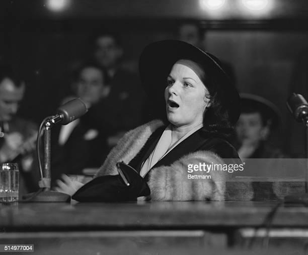 Virginia Hill girlfriend of Las Vegas mobster Ben Bugsy' Siegel testifies before the Kefauver organized crime hearings in New York