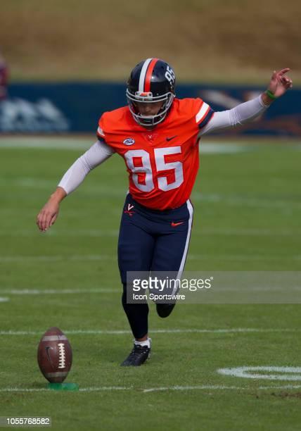 Virginia kicker AJ Mejia kicking a football prior to the game between the North Carolina Tar Heels and the Virginia Cavaliers on October 27 at Scott...
