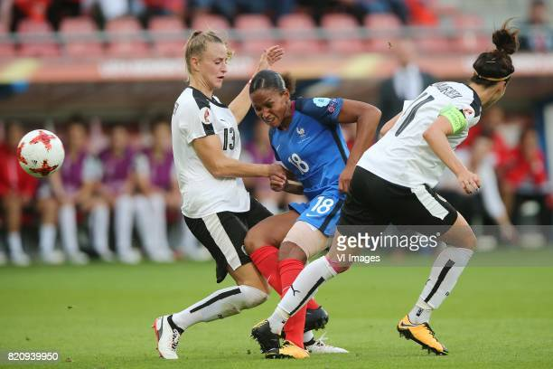 Virginia Kirchberger of Austria women MarieLaure Delie of France women Viktoria Schnaderbeck of Austria women during the UEFA WEURO 2017 Group C...