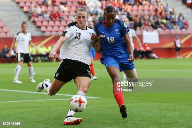 Virginia Kirchberger of Austria women MarieLaure Delie of France women during the UEFA WEURO 2017 Group C group stage match between France and...