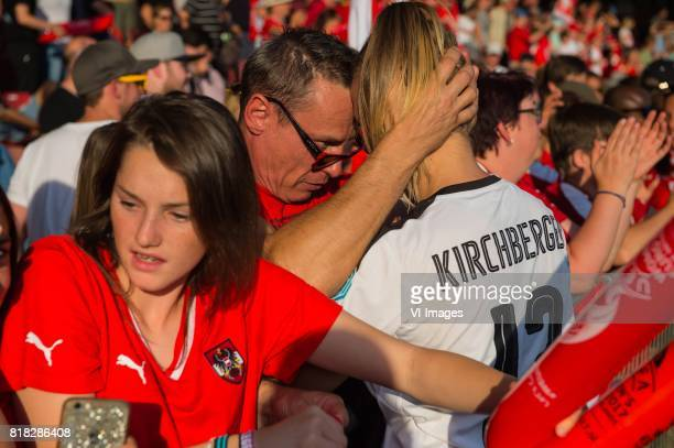 Virginia Kirchberger of Austria women with supporter during the UEFA WEURO 2017 Group C group stage match between Austria and Switzerland at The...