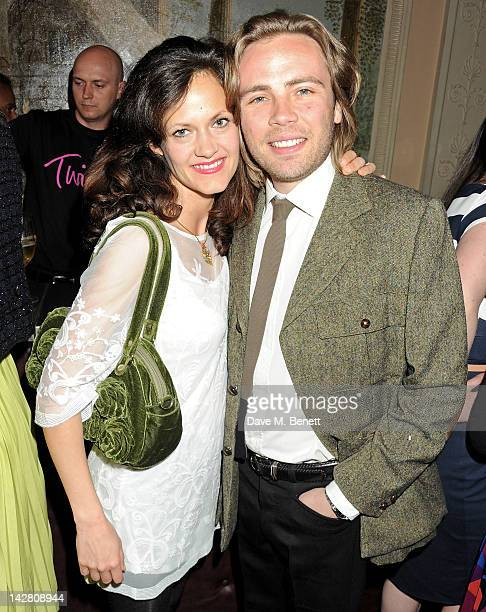 Virginia Lawson and Ace Lawson attend a party celebrating the launch of Twiggy For MS Women at Home House on April 12 2012 in London England