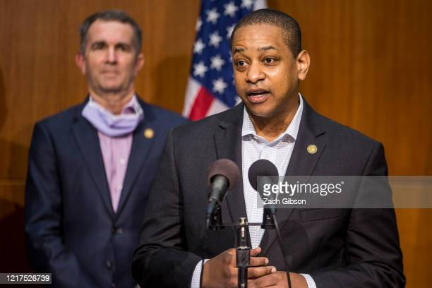 Virginia Lieutenant Gov. Justin Fairfax speaks during a news conference on June 4, 2020 in Richmond, Virginia. Virginia Gov. Ralph Northam and...