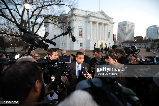 Virginia Lieutenant Governor Justin Fairfax addresses the media about a sexual assualt allegation from 2004 outside of the capital building in...