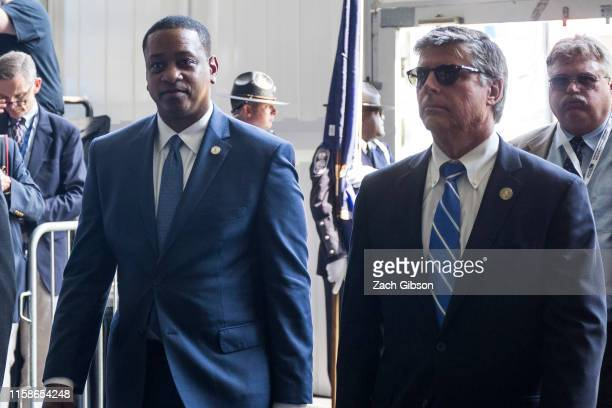 Virginia Lieutenant Governor Justin Fairfax arrives during the 400th anniversary celebration of the first representative legislative assembly at...