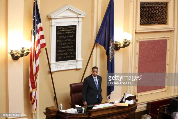 Virginia Lieutenant Governor Justin Fairfax presides over a session of the state senate inside the capital building in dowtown Richmond on February 4...
